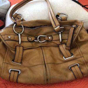 Shoulder bag : ochre color/ leather
